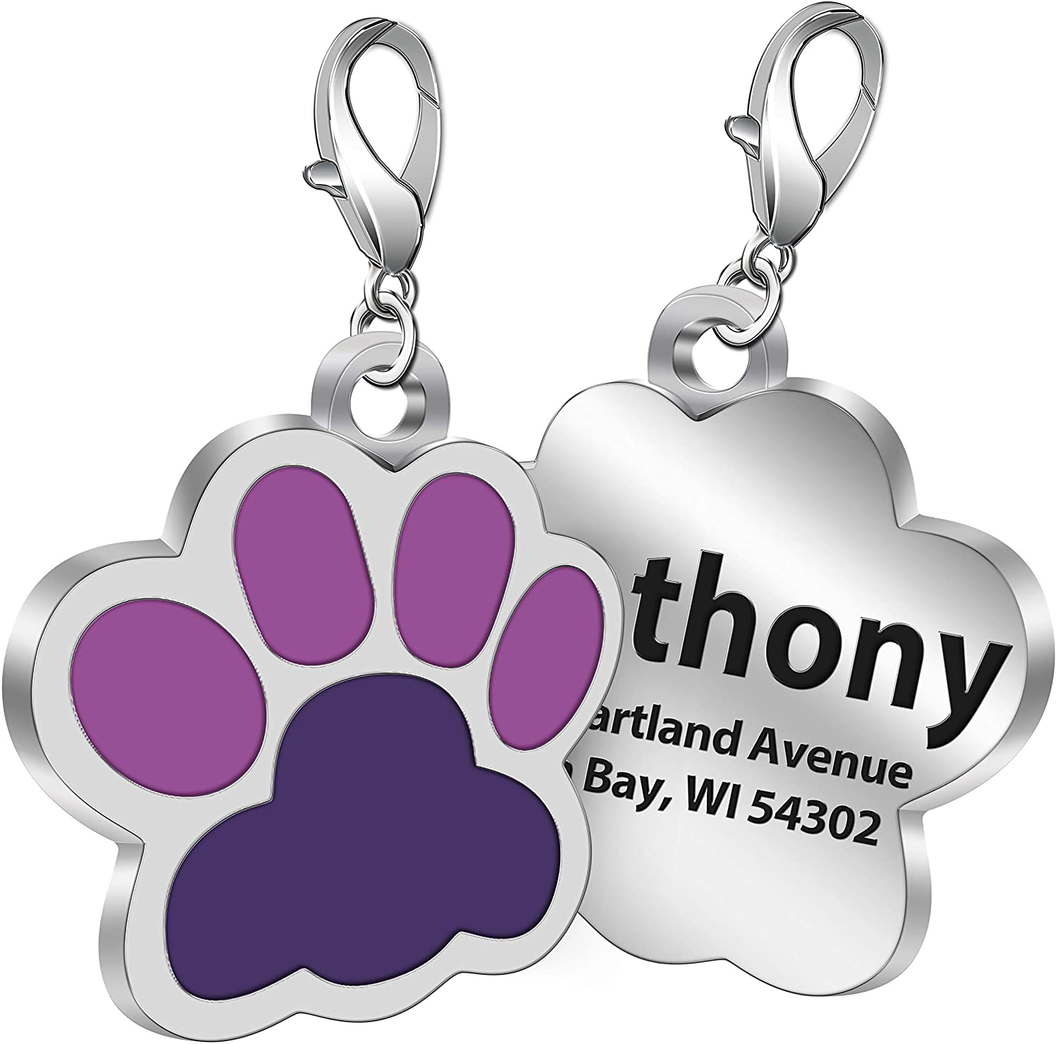 Personalized Engrave Paw Pet ID Tag with Name Laser Etched on Stainless Steel, Custom Text for Dogs Cats
