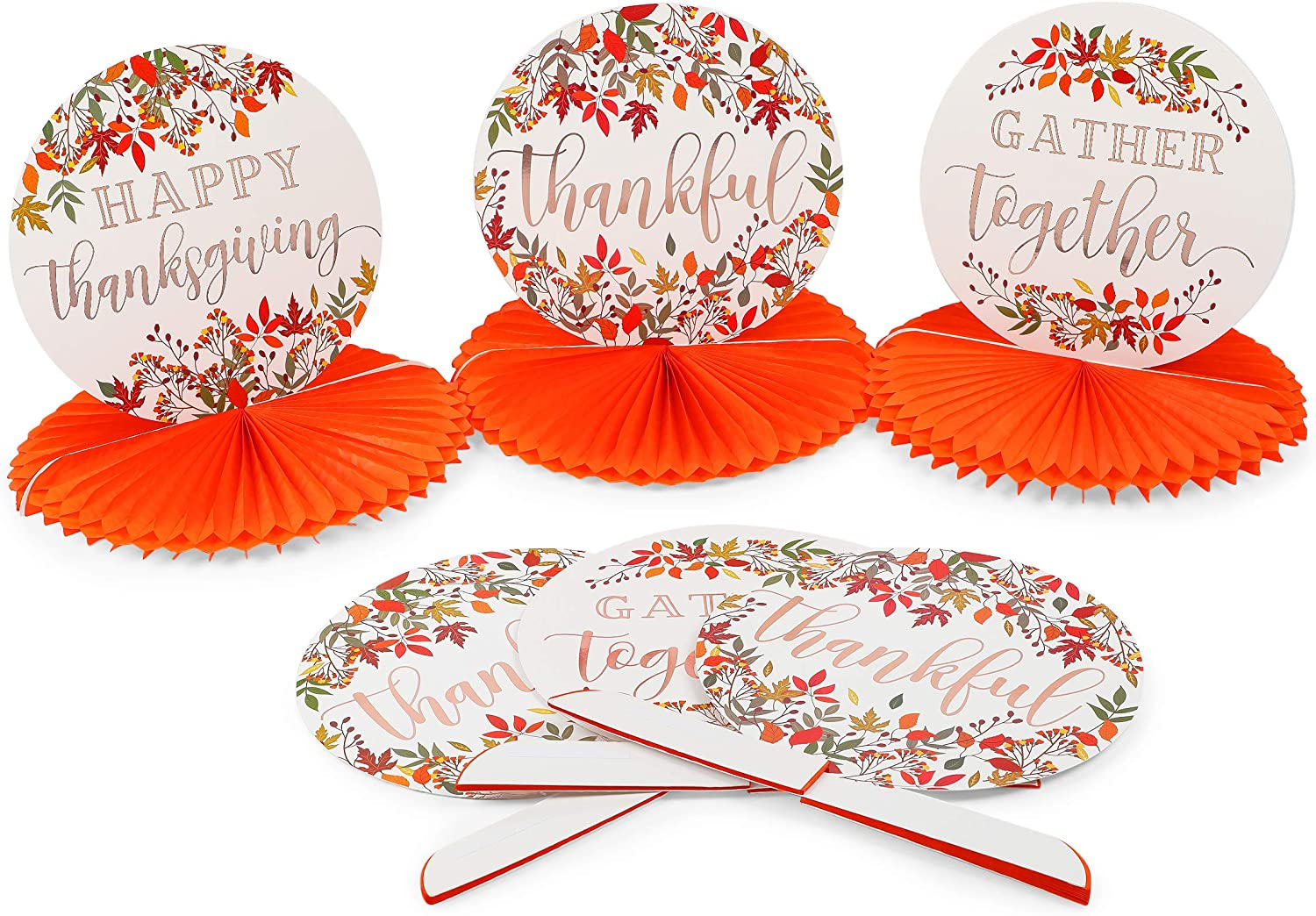 Thanksgiving Paper Honeycomb Centerpiece Decorations (12 x 11 in, 6 Pack)
