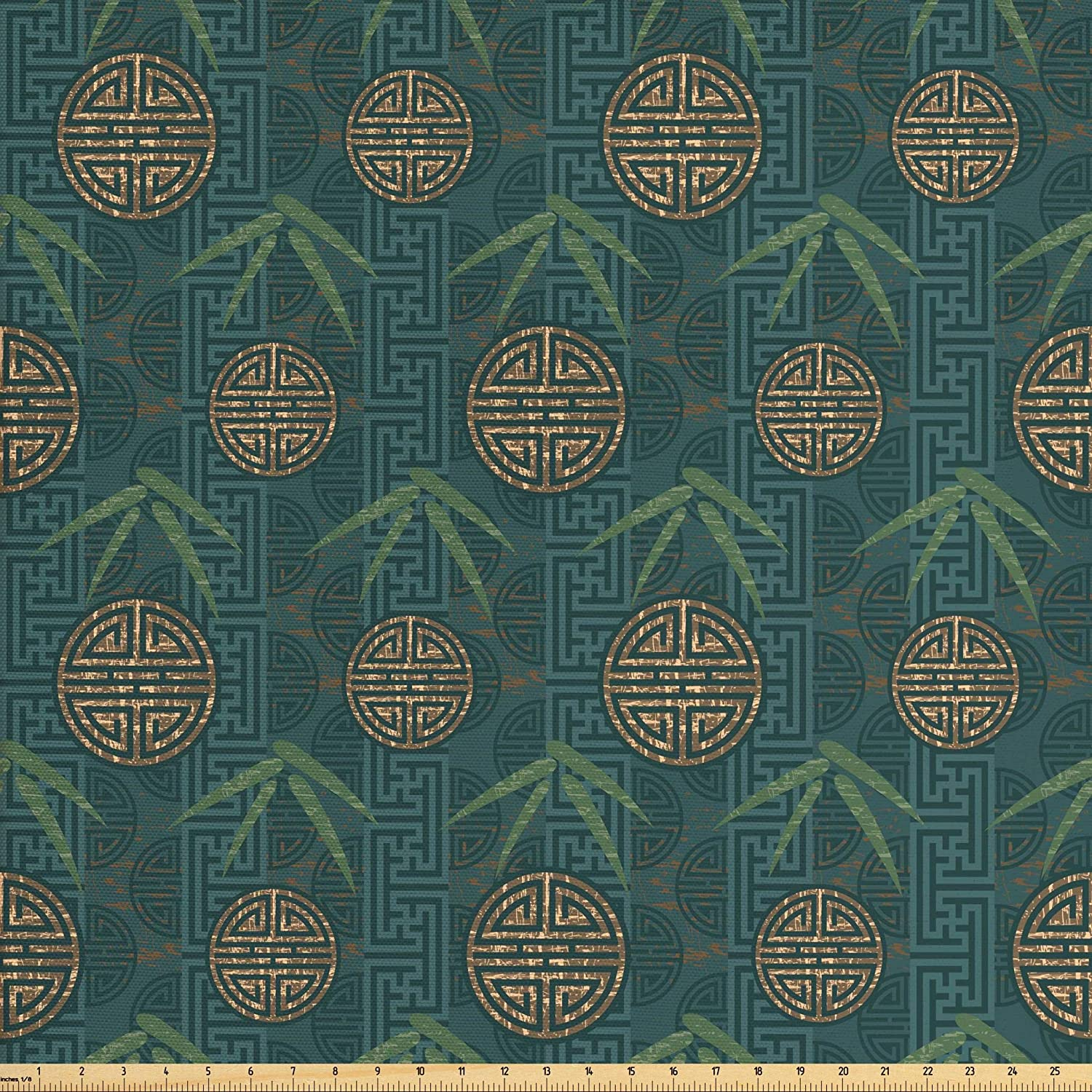 Ambesonne Bamboo Fabric by The Yard, Style Composition with Oriental Motifs Leaves Eastern Elements, Decorative Fabric for Upholstery and Home Accents, 1 Yard, Ivory Teal