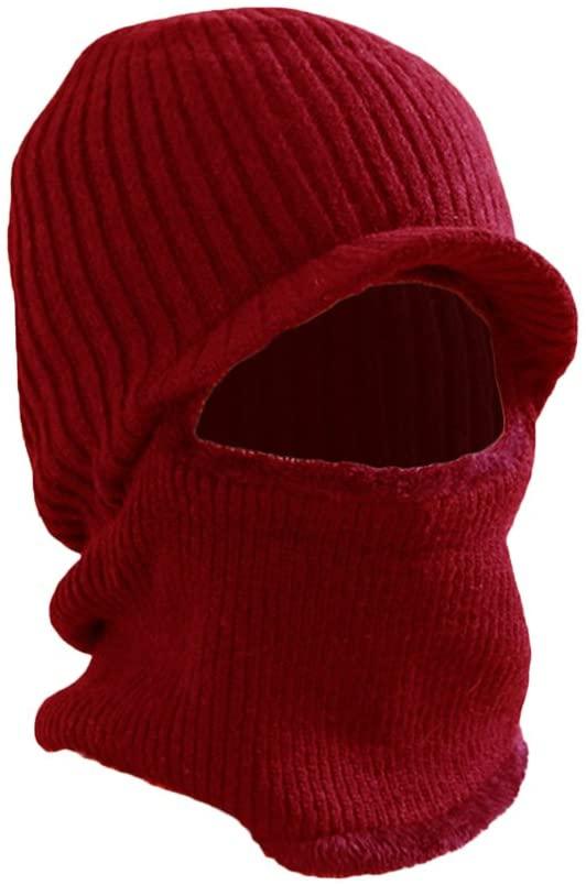 VORCOOL Winter Warm Mask Hat Windproof Knitted Hat Visor Beanie Neck Warmer Hat for Men Women (Red)