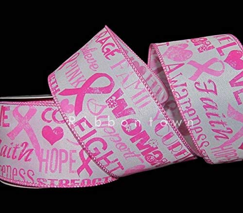Ribbon for Wedding Gift Bouquets - Wrapping - Party Decorations - DIY Crafting 10 Yards Breast Cancer Awareness Pink Ribbon Wired Ribbon 2 1/2