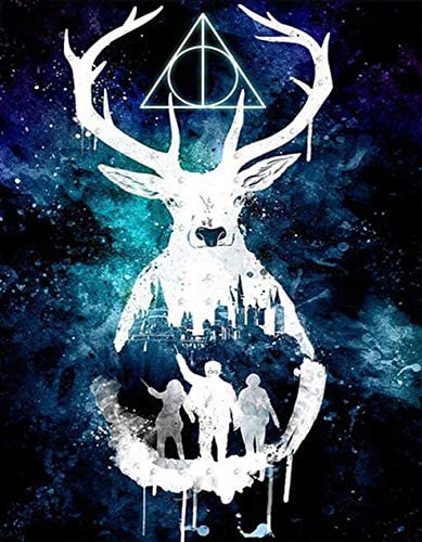 DIY Diamond Painting Kit for Adults, Benbo Full Drill Deer Starry Sky 5D Diamond Painting by Number Kits Cross Stitch Rhinestone Embroidery Pictures Arts Craft for Home Wall Decor, 15.8In x 11.8In