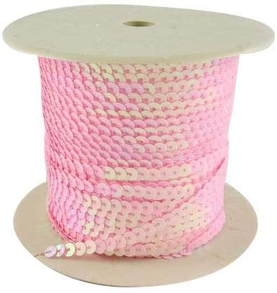 arricraft 6mm 100yards Flat Spangle Paillette Sequin Trim Spool String Beads for Dress Embellish Headband Costume-Pink