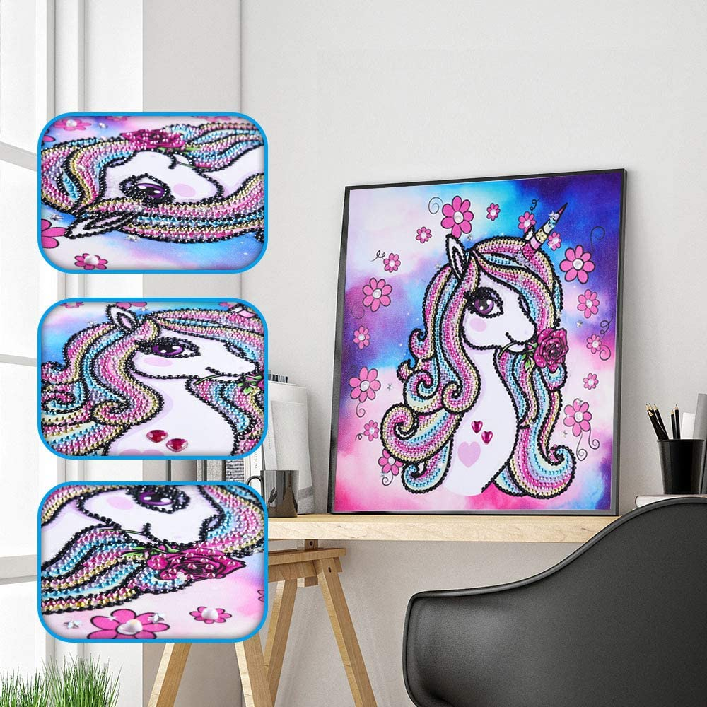Amersin DIY 5D Special Shaped Diamond Painting by Number Kits, Full Drill Rhinestone Embroidery Cross Stitch Pictures for Christmas Home Decor (Unicorn)