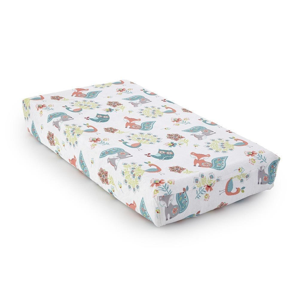 Levtex Baby - Fiona Diaper Changing Pad Cover - Fits Most Standard Changing Pads - Floral Ogee Pattern - Pink, Teal, White - Nursery Accessories - Plush