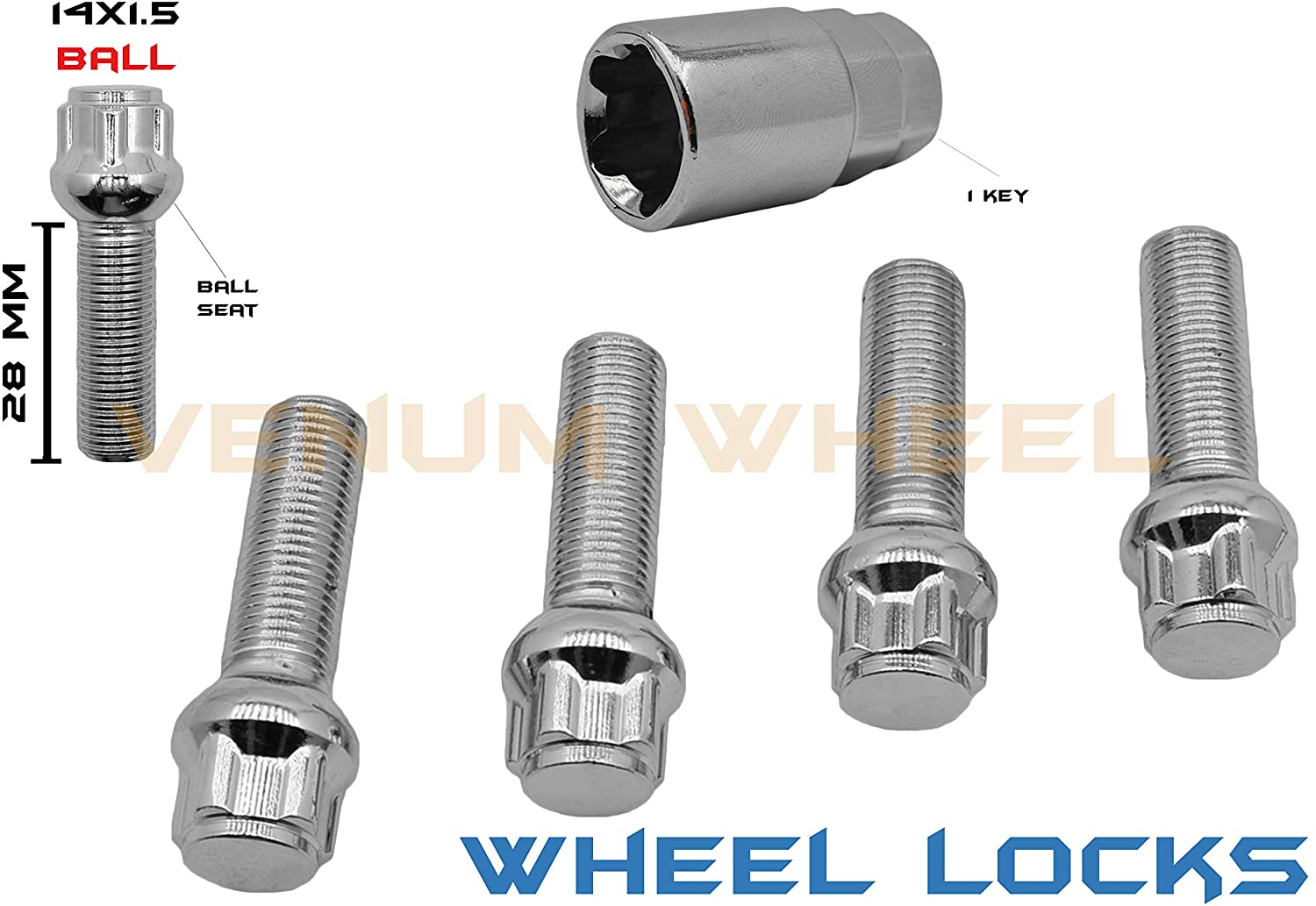 5 Pc Chrome Ball Seat Wheel Locks M14x1.5 Locking Lug Bolts Steel (28 MM) Stock Shank With Key Tool Included Compatible With Audi Mercedes Benz Volkswagen W/Factory Wheels
