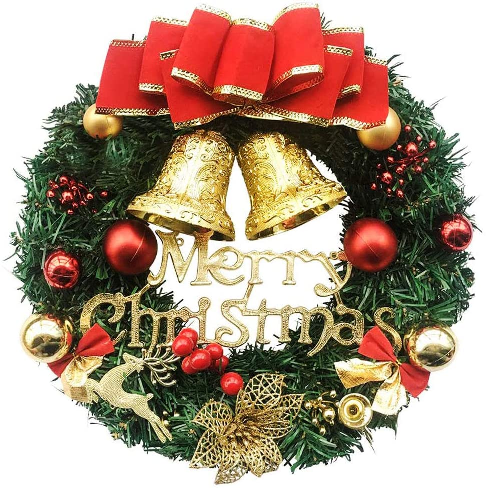 unspecific ZSZBACE Pine Artificial Christmas Wreath, Garland with Bowknot, Bells, Deer, Red Berries, Flower Gifts for Christmas Party Decor, Front Door Window Wreath 12 Inches (Red02)