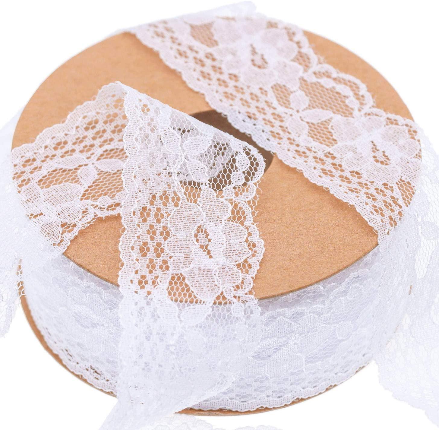 Floral Lace Trim - KAIDILA 25 Yard White Lace Ribbon For Gift Wrapping,Wedding Invitation,Garment Embellishments