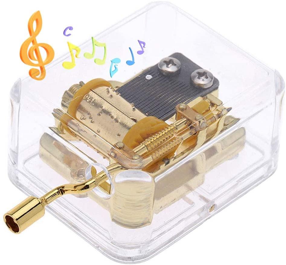 Pursuestar Acrylic Crystal Hand Crank Gurdy Gold Movement Mechanism Music Box Wedding Valentine Christmas Birthday Gift - La Vie En Rose