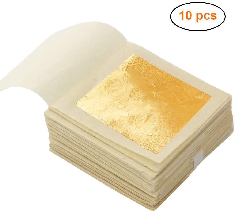 Edible Gold Leaf Sheets, 1.7†x 1.7â€1 0 PCS, Multifunctional Gold Leaf, Edible Gold Foil for Cake Baking,Makeup, Food, Art Gilding, Drink Decorations