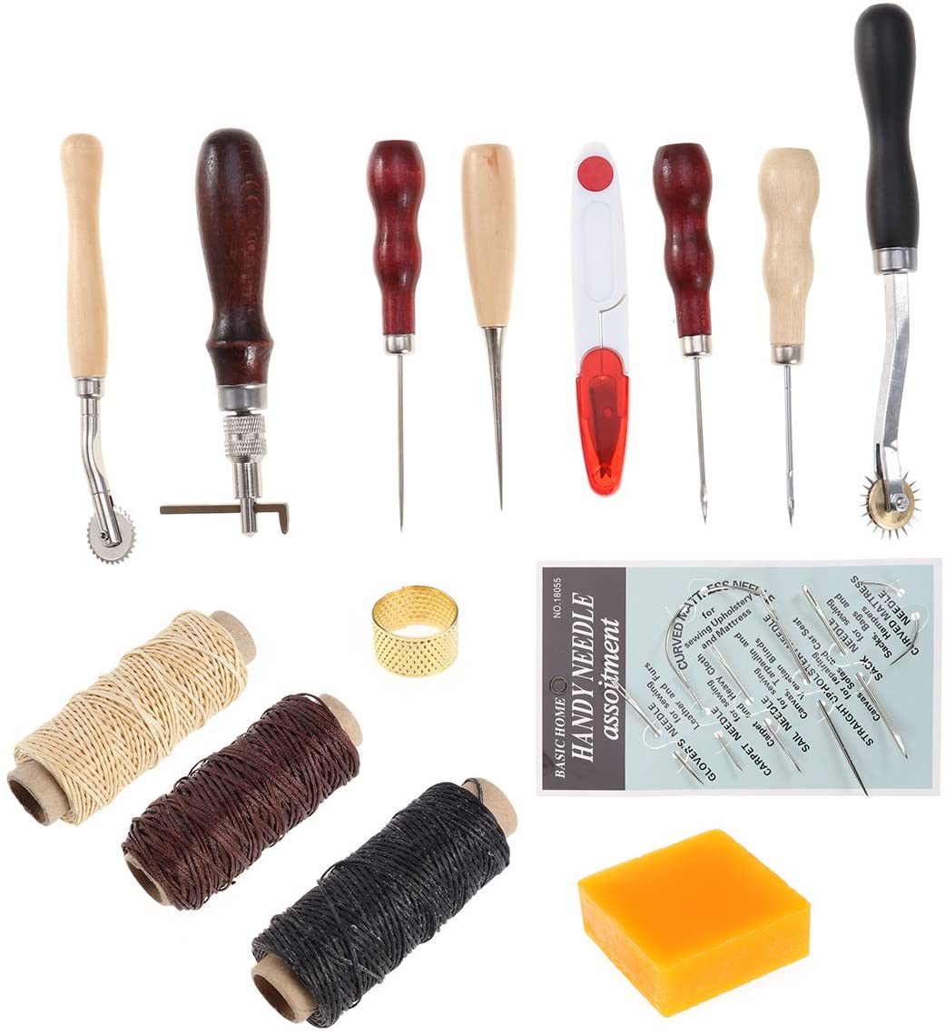 ULTNICE Leather Craft Hand Tools Stitching Groover Basic Hand Stitching Sewing Tool Set Saddle Groover Leather Craft DIY Tool 14pcs