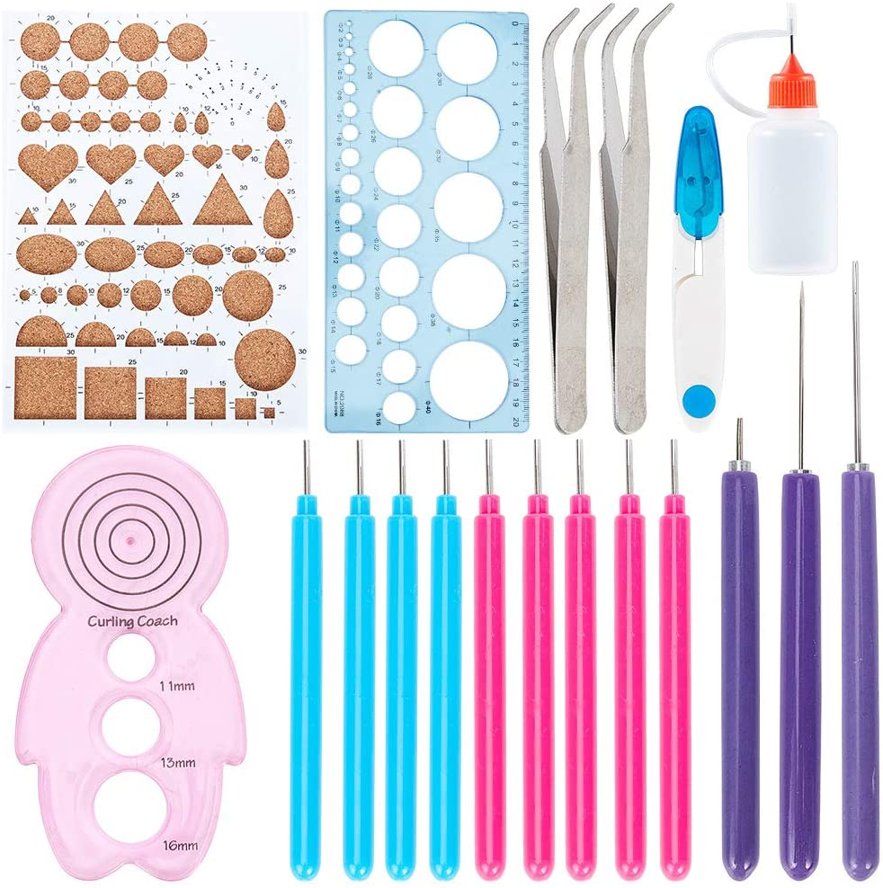 GORGECRAFT 20pcs Quilling Kit Paper Quilling Tools Sewing Scissors 30ml Plastic Glue Bottles Stainless Steel Beading Tweezers for DIY Design Drawing Handcraft
