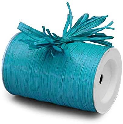 Paper Mart Turquoise Matte Raffia Ribbon - 1/4 ''x100 yd