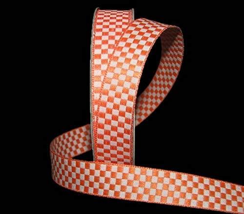 5 Yards Orange White Checked Gingham Woven Jacquard Ribbon 5/8