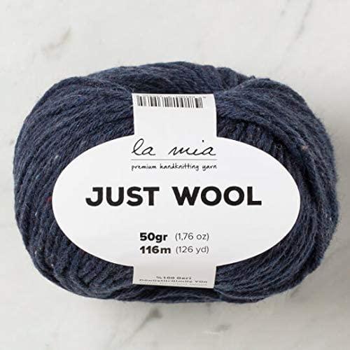 3 Ball (Pack) La Mia Just Wool, Total 5.28 Oz. 100% Recycled Wool, Each 1.76 Oz (50g) / 126 Yrds (116 m), 3 Light DK, Navy Blue - LT011