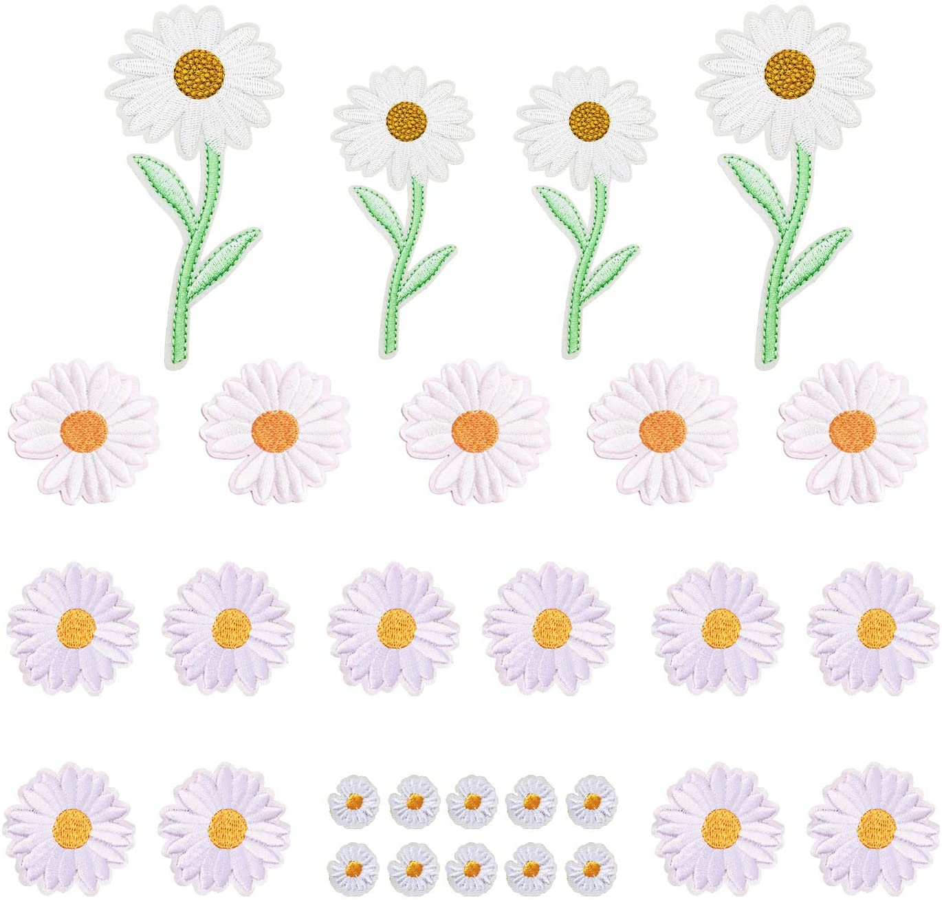 Woohome 29 PCS Iron On Patches Daisy Flower Sewing Repair Patches Jeans Patch Iron on Inside for Clothing Jeans and DIY Repair