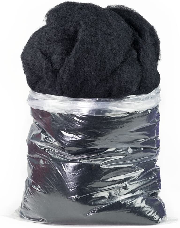 Carded Scoured Felting Wool: 1 lb Bag, Black