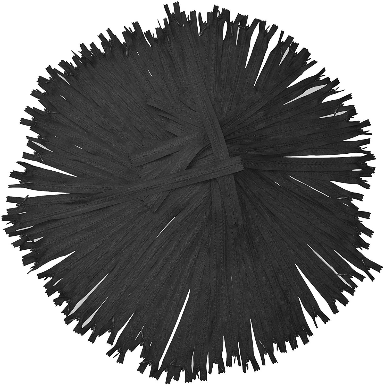 Black Nylon Invisible Zipper for Sewing, 10 Inch Bulk Hidden Zipper Supplies; by Mandala Crafts