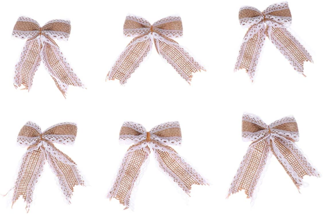 NUOBESTY 6pcs Natural Burlap Flowers Jute Lace Bows for DIY Gift Wedding Baby Shower Christmas Party Decor