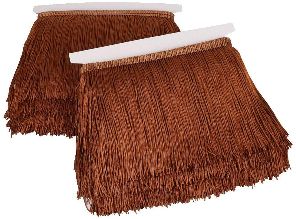 Heartwish268 Fringe Trim Lace Polyerter Fibre Tassel 6inch Wide 10 Yards Long for Clothes Accessories Latin Wedding Dress DIY Lamp Shade Decoration Black White Red(Coffee)
