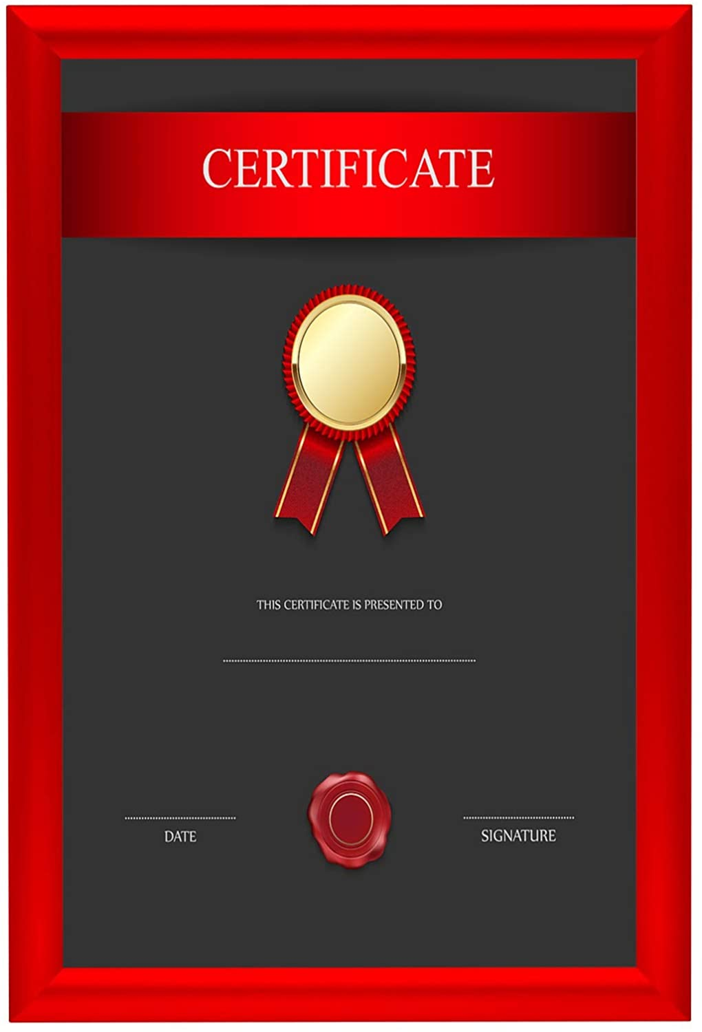 SnapeZo Poster Frame 11x17 Inches, Red 1 Inch Aluminum Profile, Front-Loading Snap Frame, Wall Mounting, Sleek Series