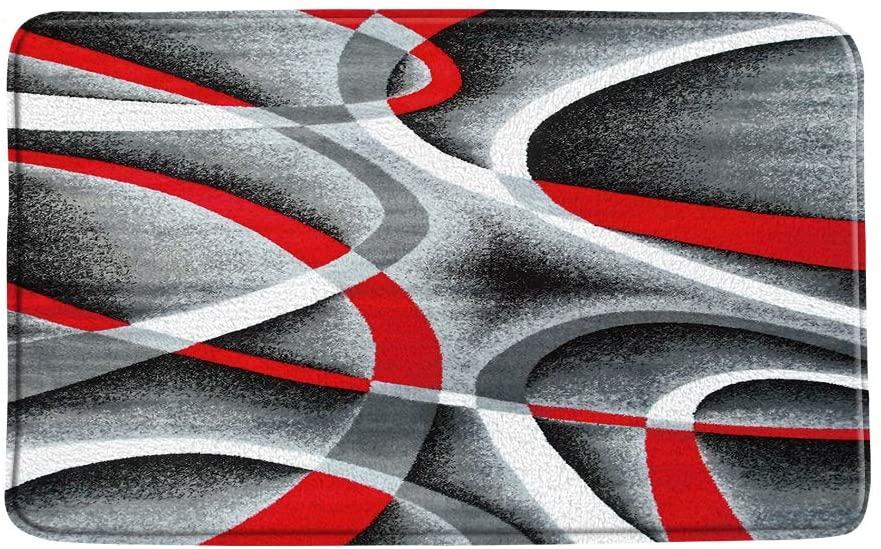 CHui DECOR Abstract Geometry Bath Mat,Black Red Gray Simple Geometric Swirls Circle Rings Stripes Modern Creative Artwork Soft Microfiber Memory Foam Bathroom Rugs,20X31 Inch