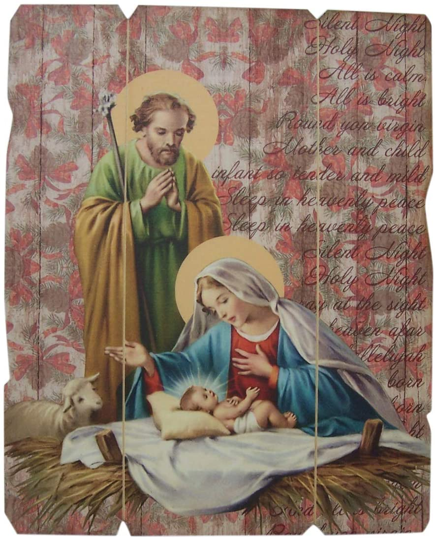 Needzo Holy Family Nativity Scene Hanging Wooden Plaque, 9 Inch