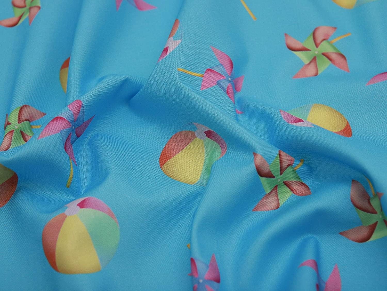COTTONVILL EMANON Summer Daze 20COUNT Cotton Print Quilting Fabric (1yard, 02-SD Ball Blue Single)