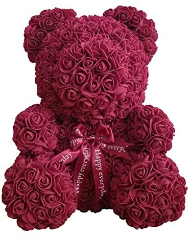 Teddy Bear Rose Bear Artificial Rose Bear Cub, Forever Rose Everlasting Flower for Window Display, Anniversary Christmas Valentines Gift by Longshow (16