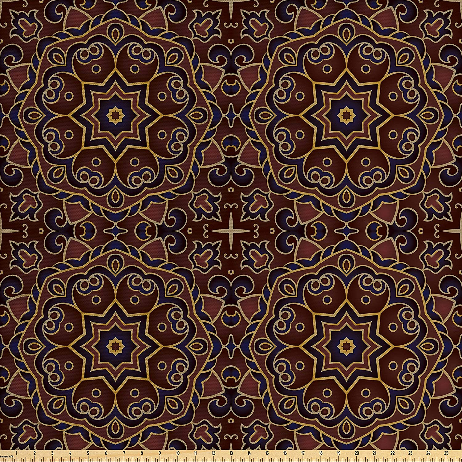 Lunarable Burgundy Fabric by The Yard, Oriental Mandala Floral Motifs Persian Mosaic Abstract, Decorative Fabric for Upholstery and Home Accents, 2 Yards, Navy Blue