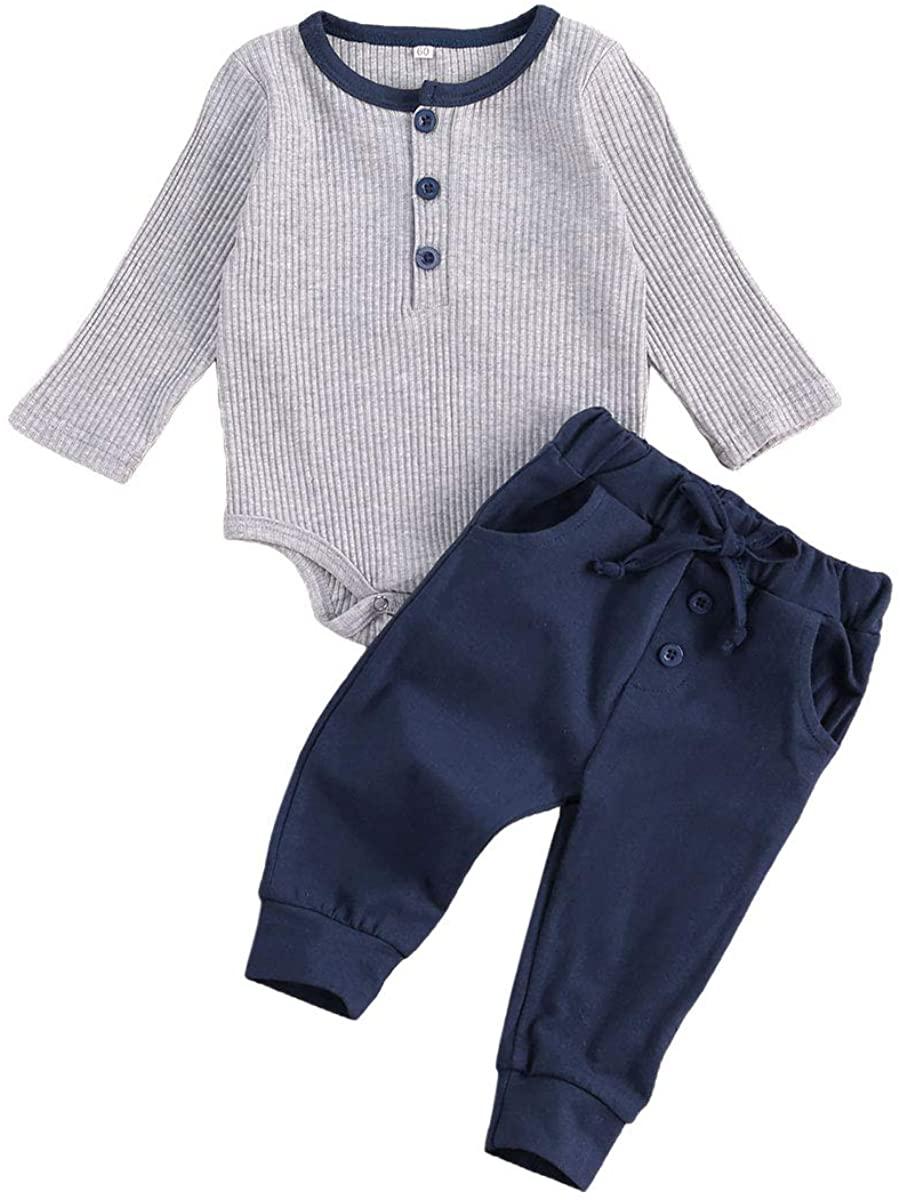 Seyurigaoka Newborn Baby Girl Boy Fall Outfits Long Sleeve Ribbed Knit Romper+Drawstring Pants 2 Pieces Clothes Casual Wear