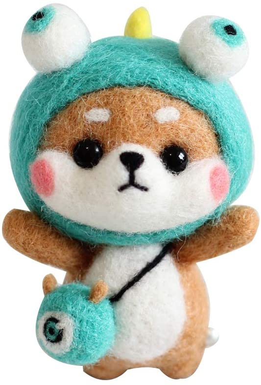 Shiba Inu Needle Felting Kit for Beginners, Handmade Animal Doll Needle Felting, Wool Felting Kit for Christmas
