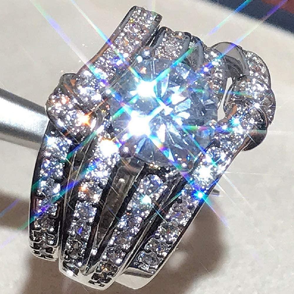 Luxury Full Diamond 3A Zircon fine Setting Simulation 3 Carat moissanite Three-Piece Engagement Ring for Women (Silver, 9)