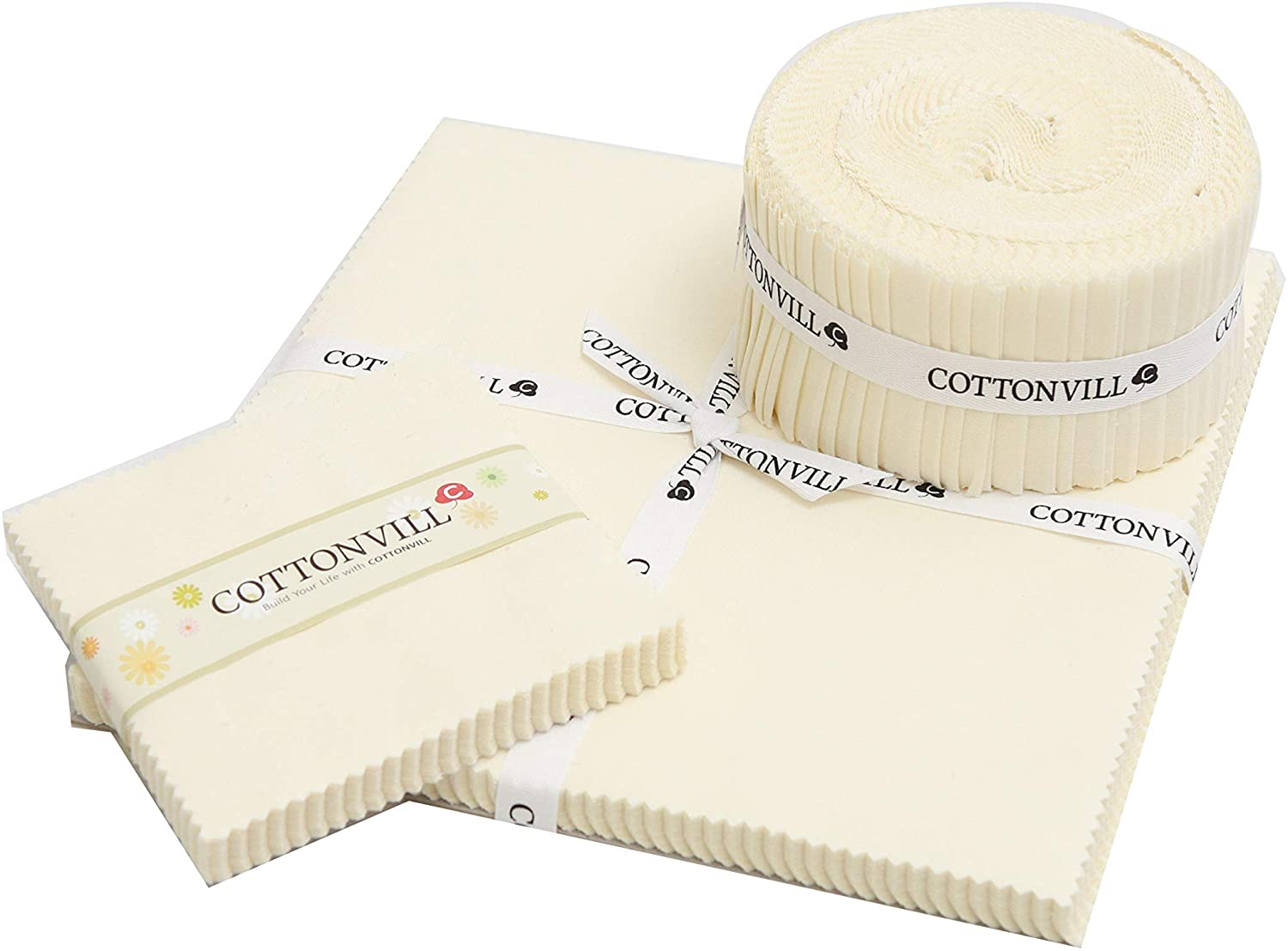 COTTONVILL 20COUNT Cotton Solid Quilting Fabric (5inch Square, 03-Whisper White)