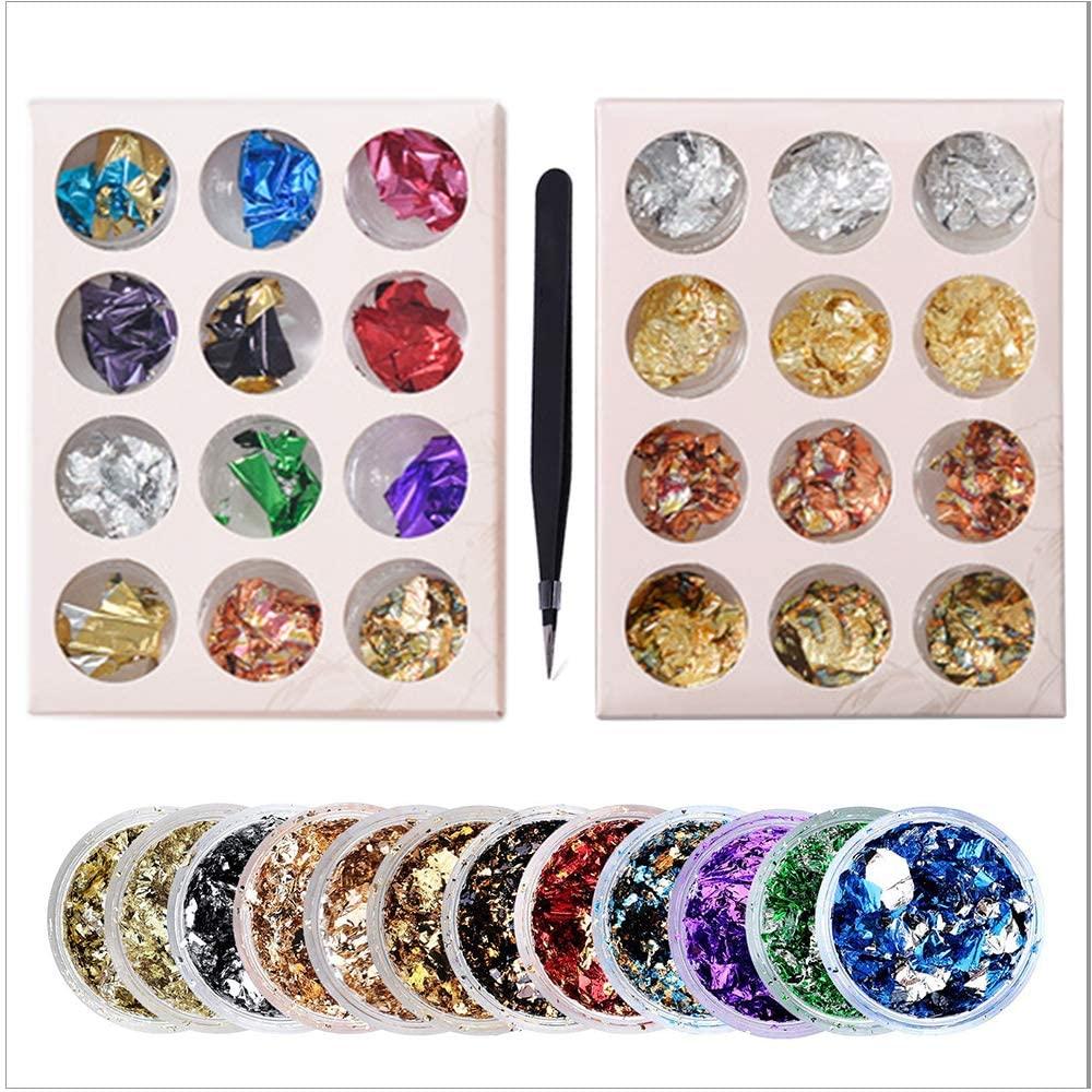 Gilding Flakes Set,24 Bottles Metallic Foil Flakes for Resin Art, Multi-Color Nail Art Design Decoration