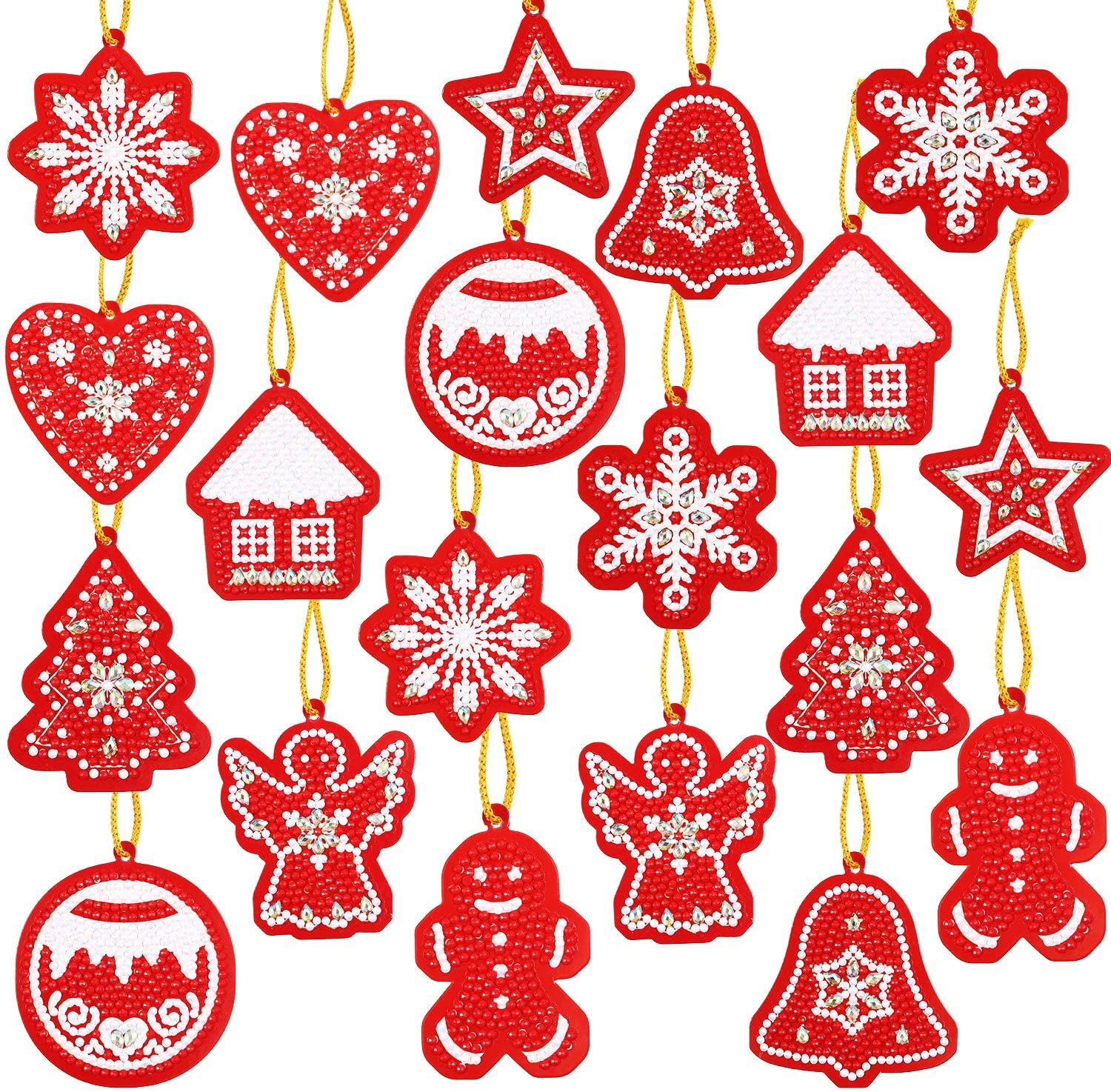 20 Pieces Christmas DIY Artificial Diamond Painting Gift Tags Resin Painting Handicraft Cards Winter DIY Diamond Key Chain for Family Decoration