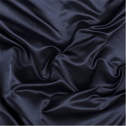 Navy Blue Silk Duchess Satin, Fabric by The Yard