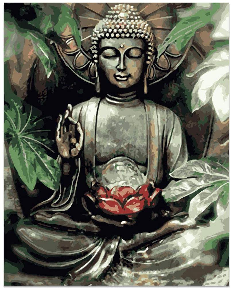 Buddha Pictures Paint by Number Kits Paintworks Acrylic DIY Oil Painting for Kids and Adults Beginner Buddha Canvas, 16
