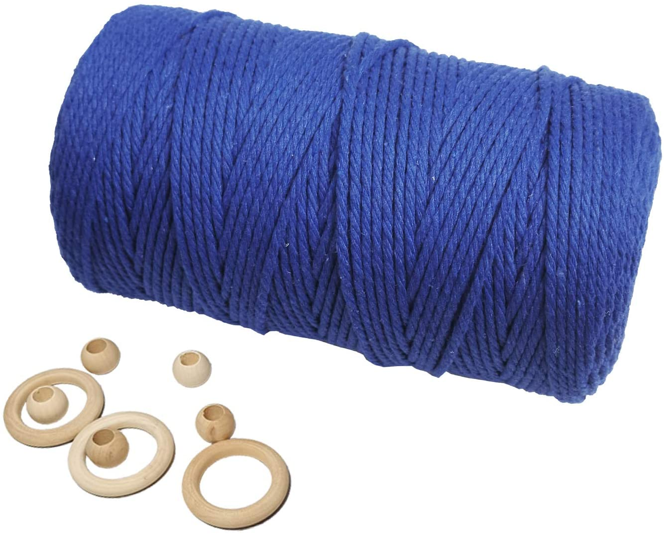 Macrame Cord 3mm x 200m Deep Blue 1 Pack, Colored Macrame Cotton Cord for Macrame Supplies, 3mm Cotton Macrame Cord 4 Strands Twist for Handmade Wall Hanging Plant Hanger Boho Craft Knitting