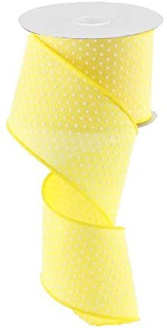 Yellow White Raised Swiss Polka Dots Wired Ribbon (2.5 Inches x 50 Yards)