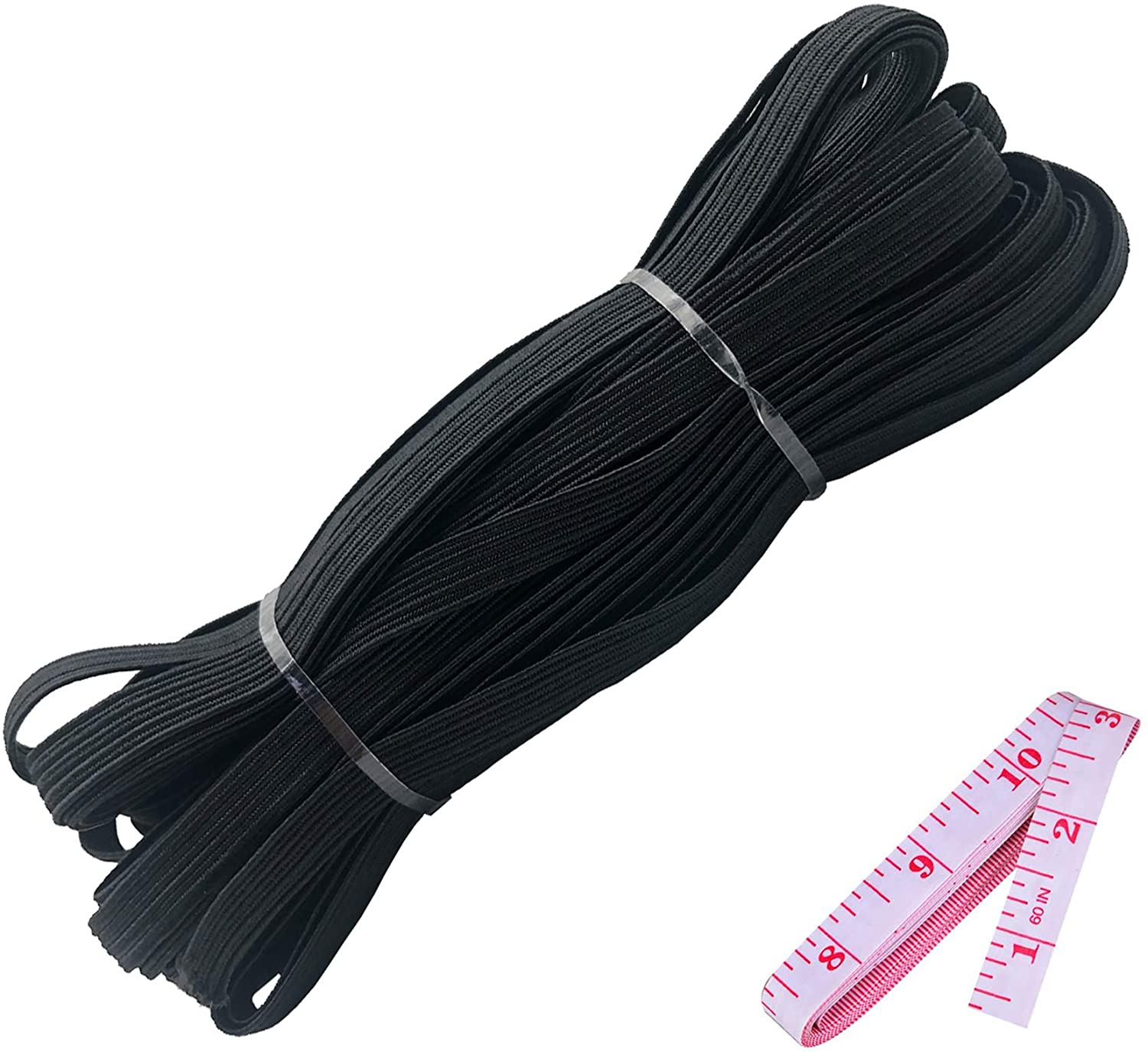Elastic Bands Craft Flat Cord Rope Braided Stretch Strap 10 Yards 1/4 Inch Knit Elastic String Spool, Quarter Inch Elastic for Sewing, Mask, Craft, Black Elastic + 60'' Tape Measure