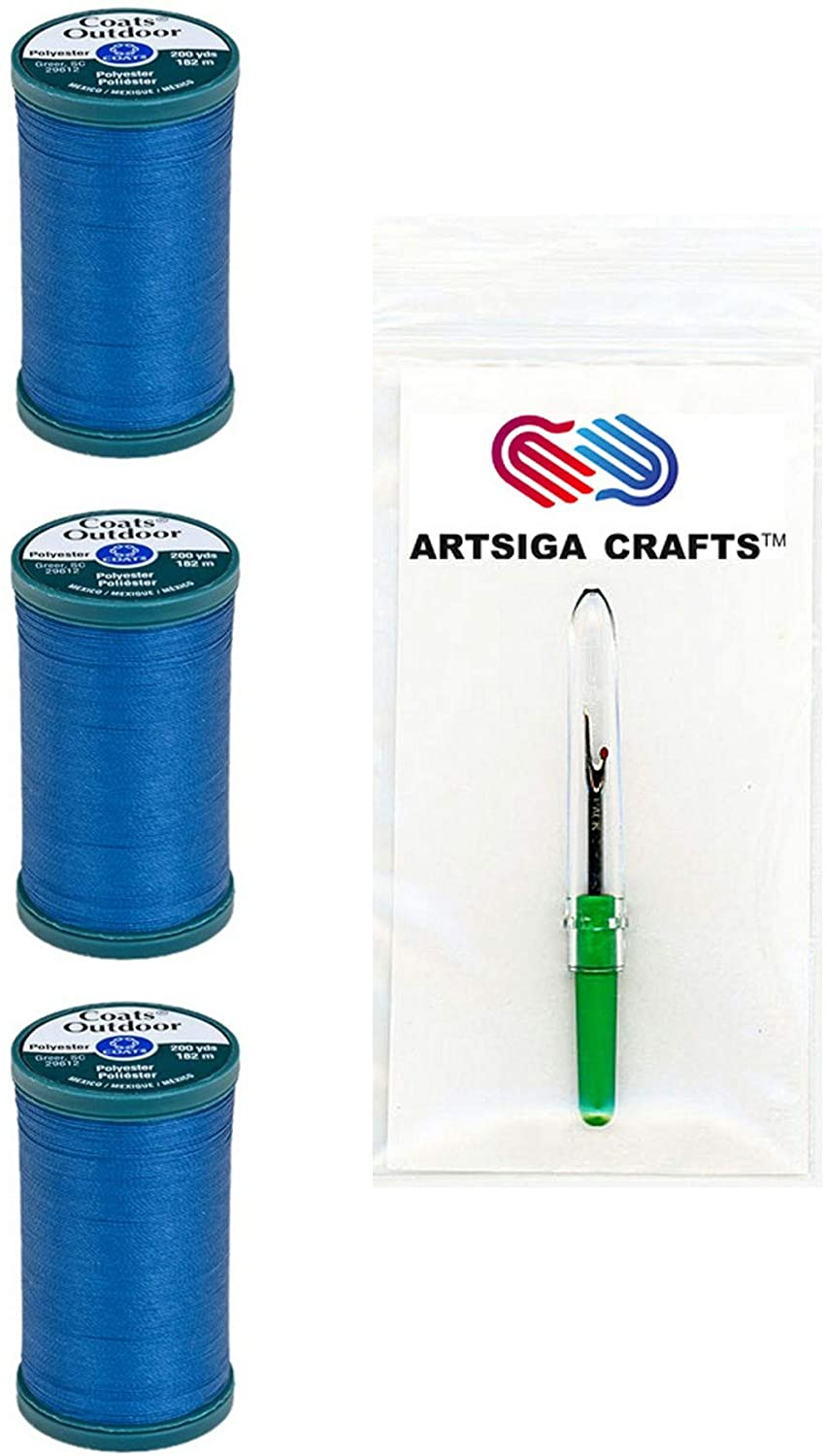 Coats & Clark Sewing Thread Outdoor Living Polyester Thread 200 Yards (3-Pack) Monaco Blue Bundle with 1 Artsiga Crafts Seam Ripper S971-4270-3P