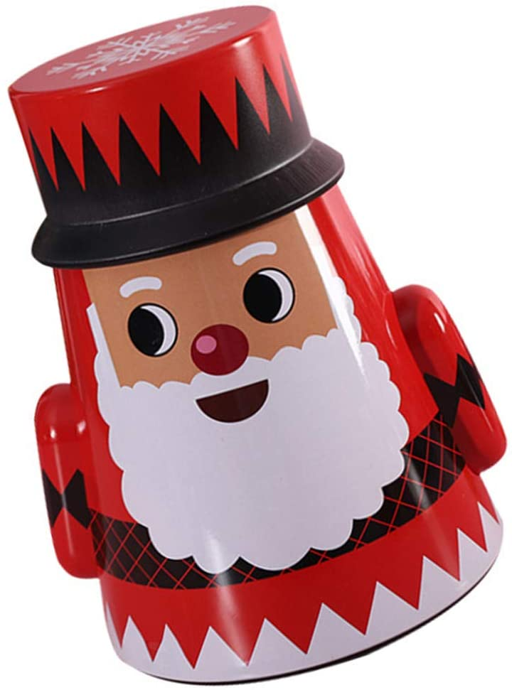 DOITOOL Christmas Cookie Tin Boxes Santa Claus Nesting Boxes Candy Storage Jar Decorative Tumbler for Treats Chocolate Gift (Red)