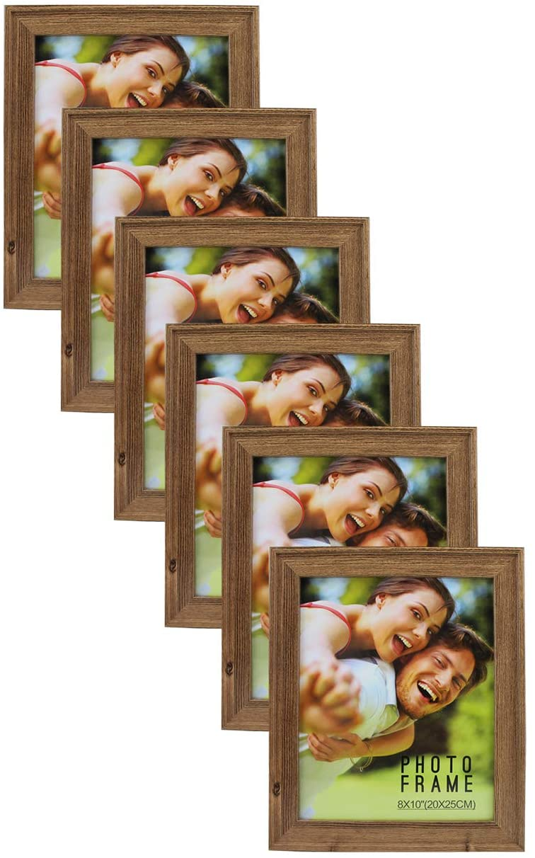 Picture Frame MDF Wood Size 8X10 Brown Color for Tabletop Stand or Wall Mount 6-Pack