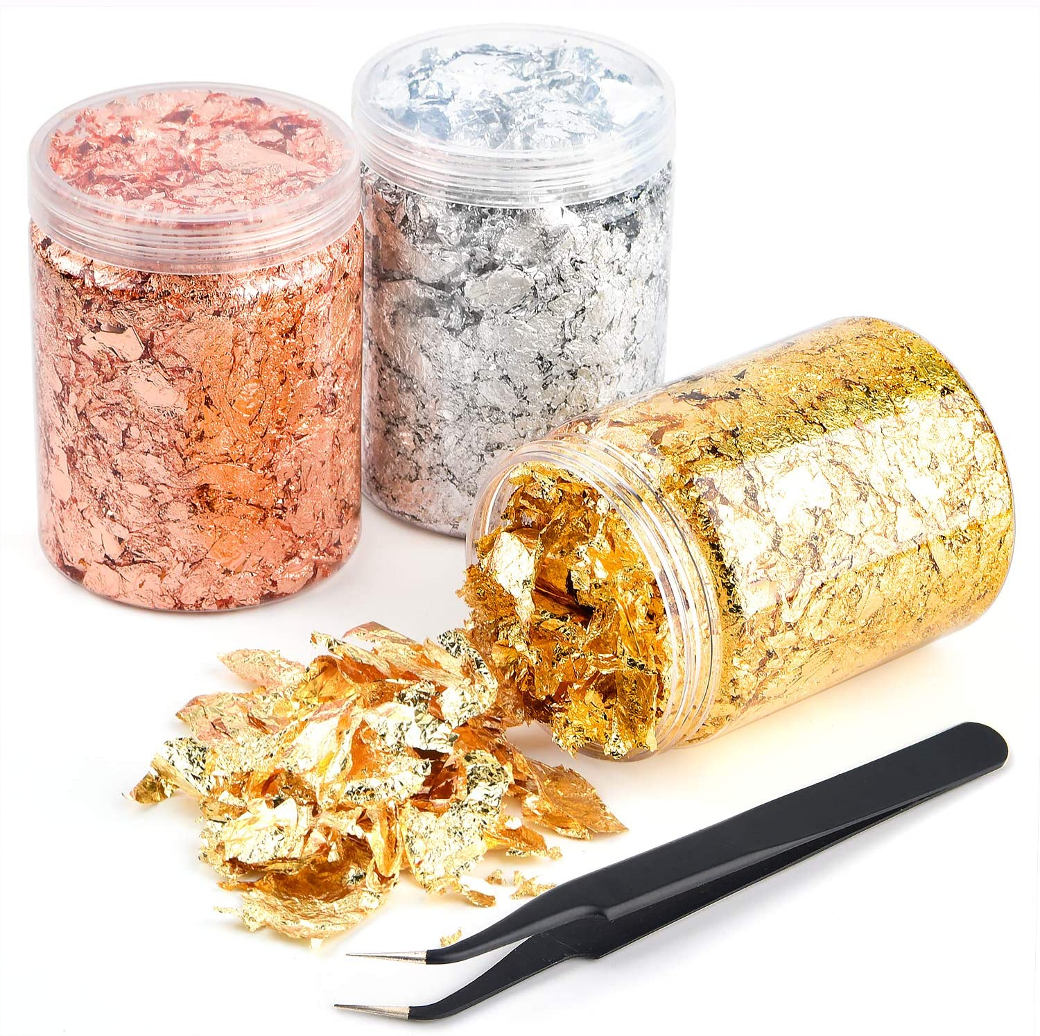 Coopay 45 Grams Gold Foil Flakes Imitation Gold Silver Copper, 3 Bottles Foil Flakes Metallic Leaf for Nails, Painting, Glitter Arts Crafts Jewelry Home Decoration, 15 Grams/Bottle