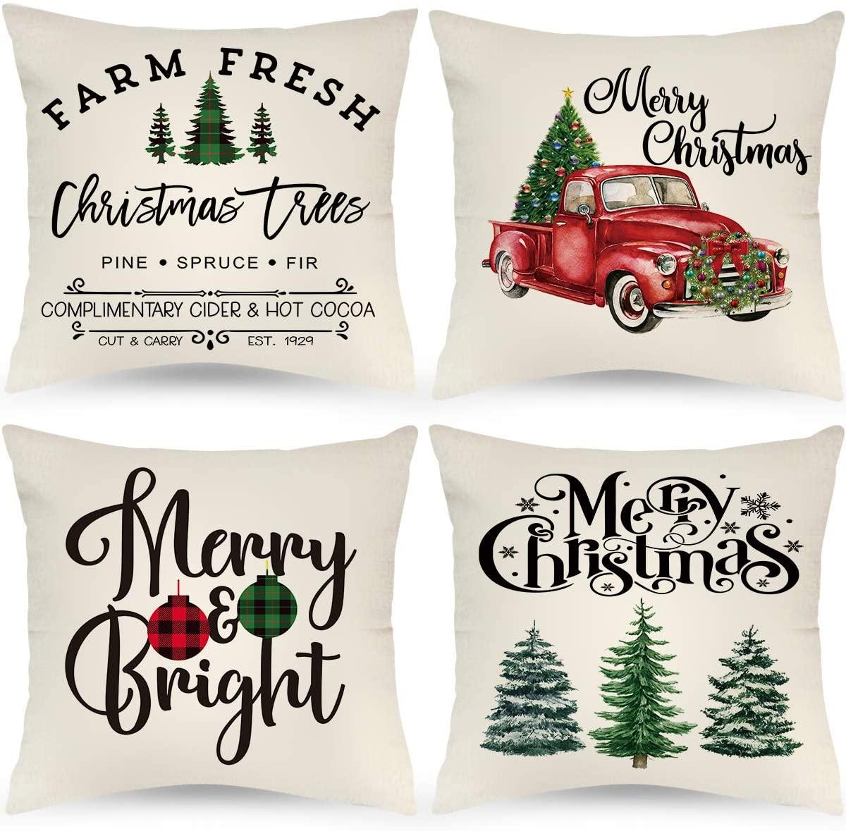 LAVEVE Farmhouse Christmas Pillow Covers, 22x22 Set of 4 Christmas Decor Throw Pillows Buffalo Plaid Christmas Decorations Red Truck Buffalo Check Throw Pillow Covers