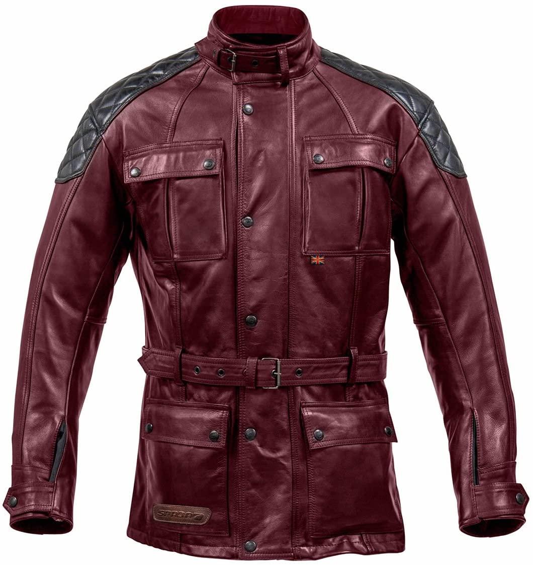 Spada Berliner Motorcycle Motorbike Breathable Leather Jacket - Oxblood 42