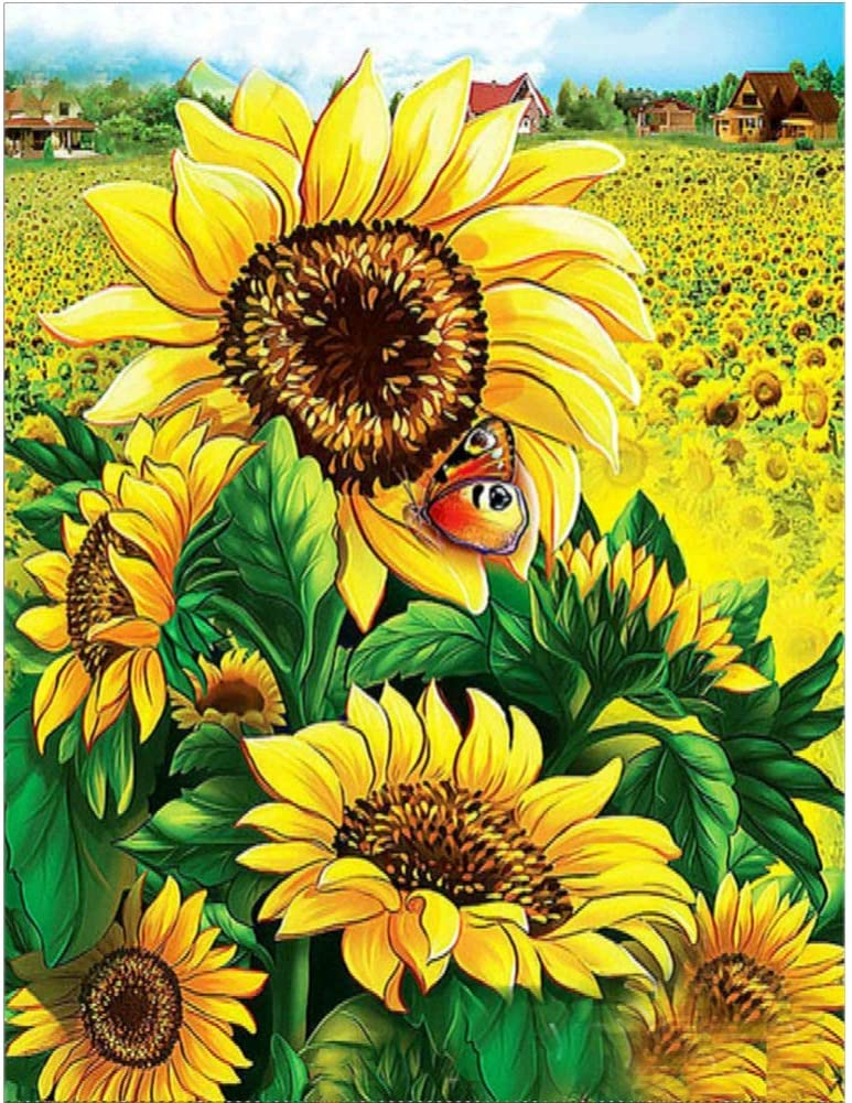 Ingzy 5D Diamond Painting Kits Sunflower Full Drill,DIY Crystal Diamond Art Kits Cross Stitch Mosaic Embroidery Home Wall Decor(12x16inches)