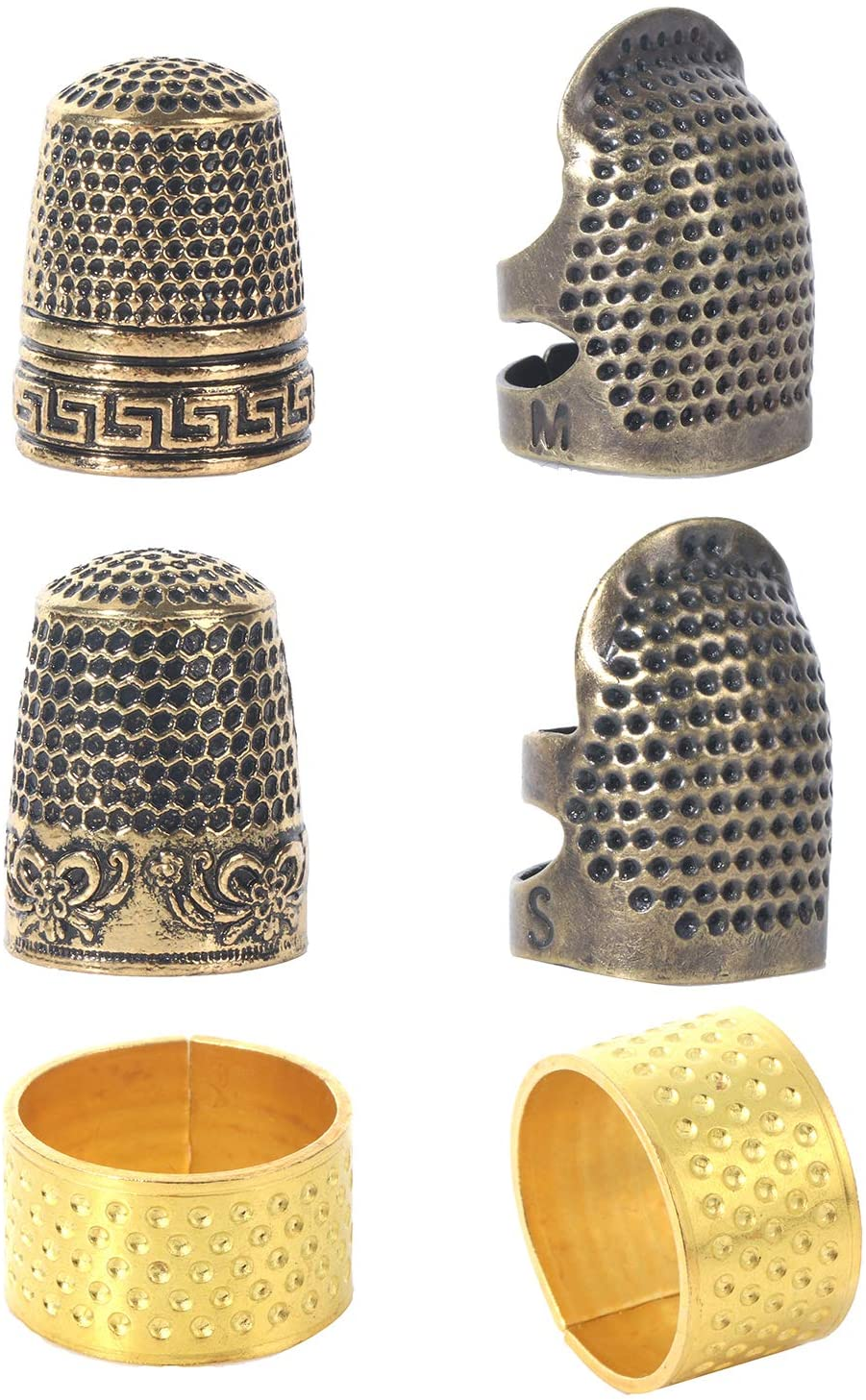6 Pieces Sewing Thimble Finger Protector Metal Copper Sewing Thimble Adjustable Finger Shield Protector Ring Fingertip Sewing Thimble Sewing Accessories for DIY Sewing Quilting Craft Sewing Tools