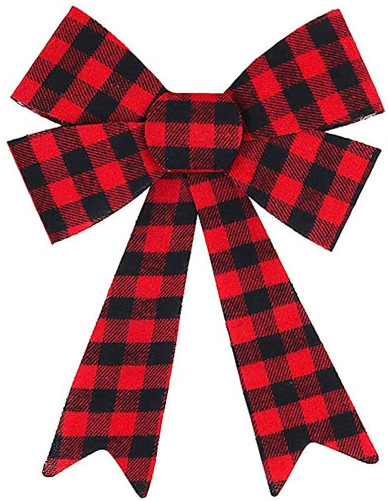 JETTINGBUY 1 Piece Super Huge Red Buffalo Plaid Bows Christmas Wreath Bow, Buffalo Plaid Bow Thanksgiving Christmas Wreath Bow Black and Red Bow for Christmas Tree Crafts DIY Bow Decor, 12inch, Type B